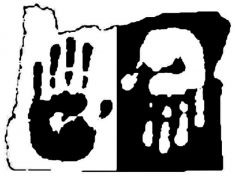 Black and White Graphic Image - Logo - Oregon State Outline with Black and White Handprints incl. 1 Black on White and 1 White on Black Upside Down